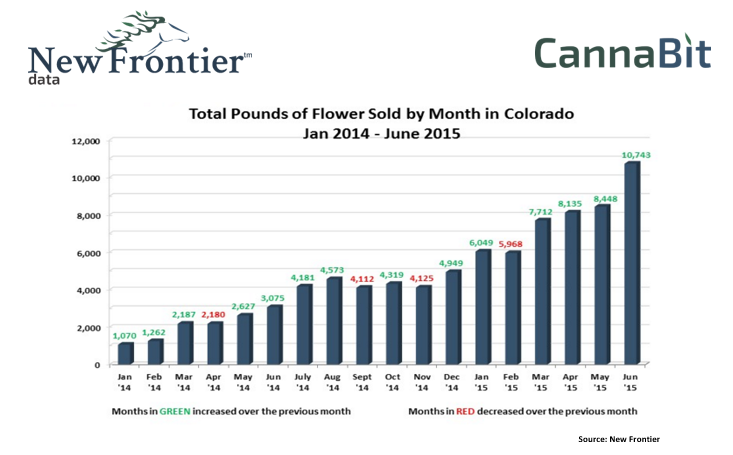 Total Pounds of Marijuana Flour Sold By Month In Colorado (2015)